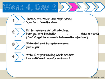 ELA Bell Work Dailies for 4th/ 5th Graders {1st 9 weeks- more to follow}