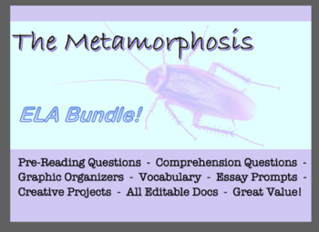 ELA Bundle Franz Kafka The Metamorphosis ; Reading Questions & Projects