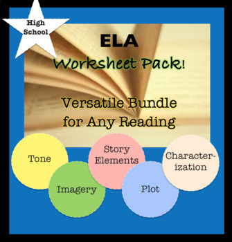 ELA Bundle for ANY stories; Worksheets, Graphic Organizers. Plot, Imagery, Tone