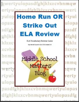 ELA CCSS Vocabulary Review Game - Home Run OR Strike Out