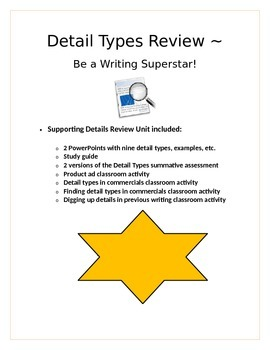 ELA CCSS W.6.2 Detail Types supporting details On-demand writing review unit