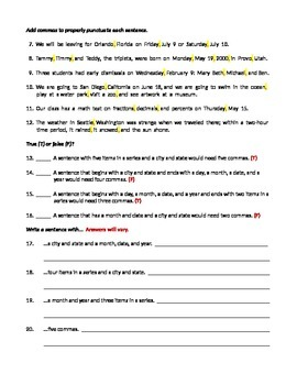 ELA COMMAS Dates, Cities, Items in a Series TEST / Formative Assessment