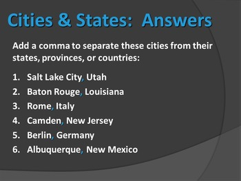 ELA COMMAS Dates, Cities, Items in a Series PowerPoint 3 Worksheets Test Bundle