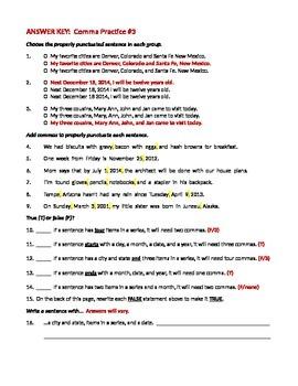 ELA COMMAS Dates, Cities, Items in a Series Worksheet #3