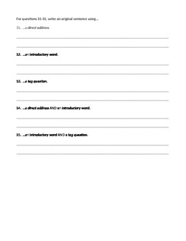 ELA COMMAS Direct Address, Introductory Words, Tag Questions Worksheet #3