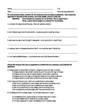 ELA COMMAS With Appositives Worksheet #1