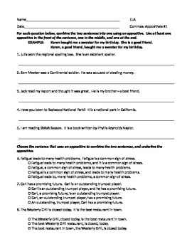 ELA COMMAS With Appositives Worksheets x3 and Test Bundle
