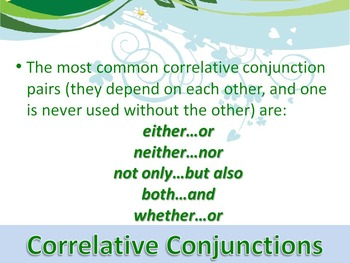 ELA CONJUNCTIONS Correlative Conjunctions PowerPoint PPT