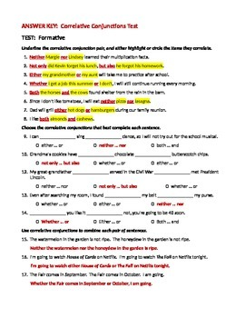 ELA CONJUNCTIONS Correlative Conjunctions TEST Formative Assessment