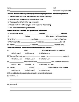 ELA CONJUNCTIONS Correlative Conjunctions Worksheet #2