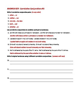 ELA CONJUNCTIONS Correlative Conjunctions Worksheet #3
