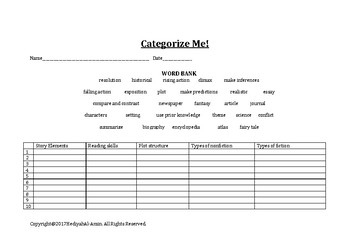 ELA Categories Activity