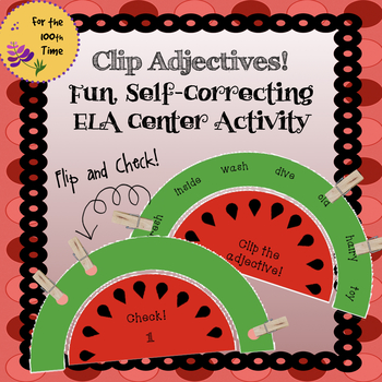 ELA Center Activity to Practice Adjectives- Grammar Self Correcting Task Cards!