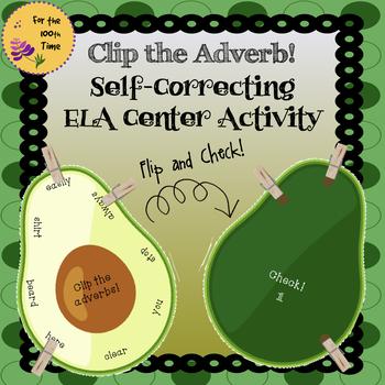 ELA Center Activity to Practice Adverbs- Grammar Self-Correcting Task Cards