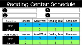 ELA Center Schedule