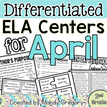 ELA Centers with Differentiation, Student Rubrics, and Menus for April (2nd)