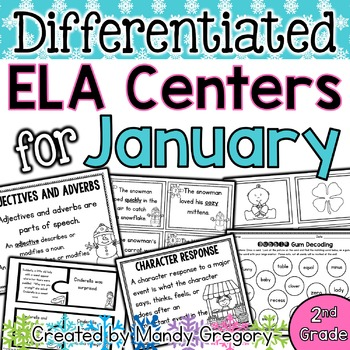 ELA Centers with Differentiation, Student Rubrics, and Menus for January (2nd)