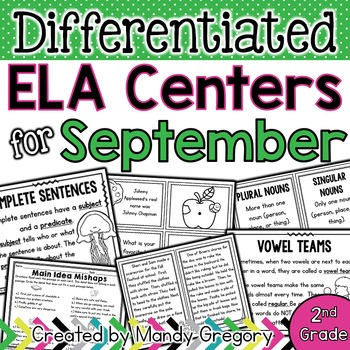 ELA Centers with Differentiation, Student Rubrics, and Menus for September (2nd)