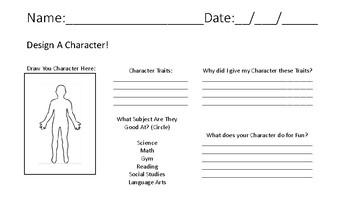 ELA Character Traits Worksheet, Design a character!