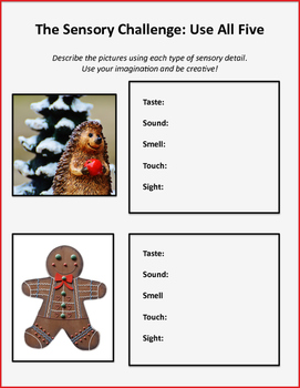 ELA Christmas Sensory Details Activity Set