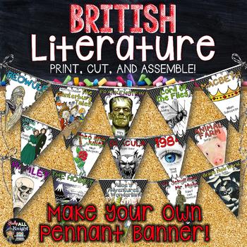ENGLISH CLASSROOM DECOR BRITISH LITERATURE MAKE YOUR OWN PENNANT BANNER