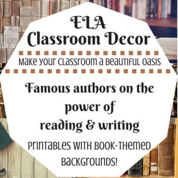 ELA Classroom Decoration - Author Quotes on Reading & Writing, Book Backgrounds