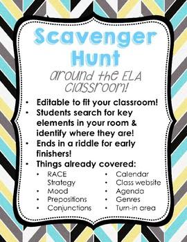 ELA Classroom Scavenger Hunt