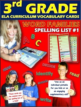 Word Family Cards: 3rd Grade Spelling List No.1