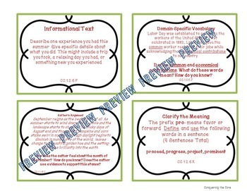 ELA CC Bell Ringer Back To School Themed Task Cards - Upper El/Middle School