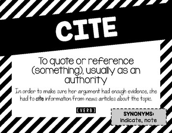 ELA Common Core Vocabulary from the Standards - Printable Posters B&W Stripes