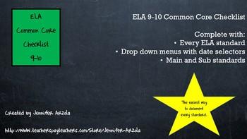 ELA Common Core Checklist 9-10