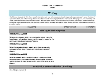 ELA Common Core Checklist: Grade 1