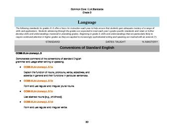 ELA Common Core Checklist: Grade 3