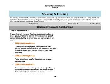ELA Common Core Checklist: Grade 4