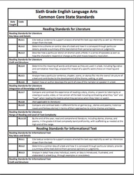 ELA Common Core Checklist and Planning Template for 6th (PDF and WORD)