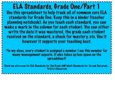ELA Common Core Checklist for First Grade