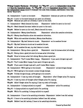 ELA Common Core Complex Sentences Worksheet