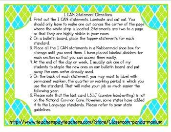 ELA Common Core I CAN Statements Grade 3