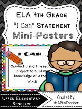 """ELA Common Core """"I Can"""" (4th Grade Pencils)"""