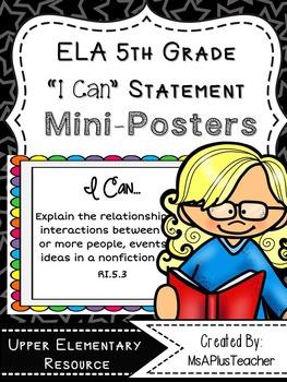 """ELA Common Core """"I Can"""" (5th Grade Pencils)"""