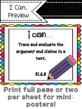 """ELA Common Core """"I Can"""" (6th Grade/Dots)"""