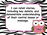 ELA Common Core I Can Statements Owls and Zebra print