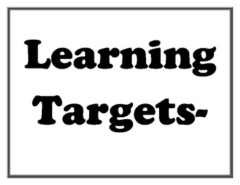 ELA Common Core Learning Targets- I Can Statement Posters