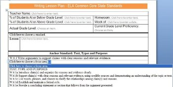 Common Core Lesson Plan Templates ELA 6-8 w/Standards in Drop Down Menus