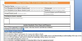 Common Core Lesson Plan Templates ELA 6-8 w/Standards in D