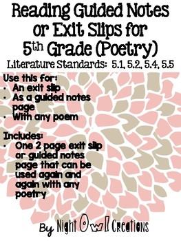 ELA Common Core Literature 5.1, 5.2, 5.4, 5.5 (Poetry)