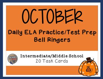 Middle School Bell Ringer -  ELA October Themed Task Cards