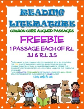 ELA Common Core Reading Literature Assessments and Passages FREEBIE-3rd