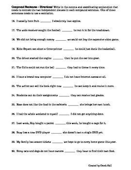 ELA Common Core Simple & Compound Sentences Worksheet