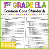 English Language Arts Common Core Standards - 1st Grade